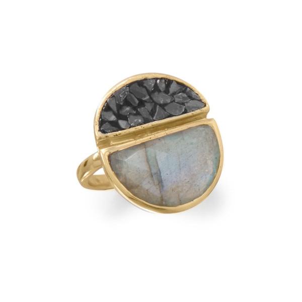14 Karat Gold Plated Labradorite and Diamond Chips Ring