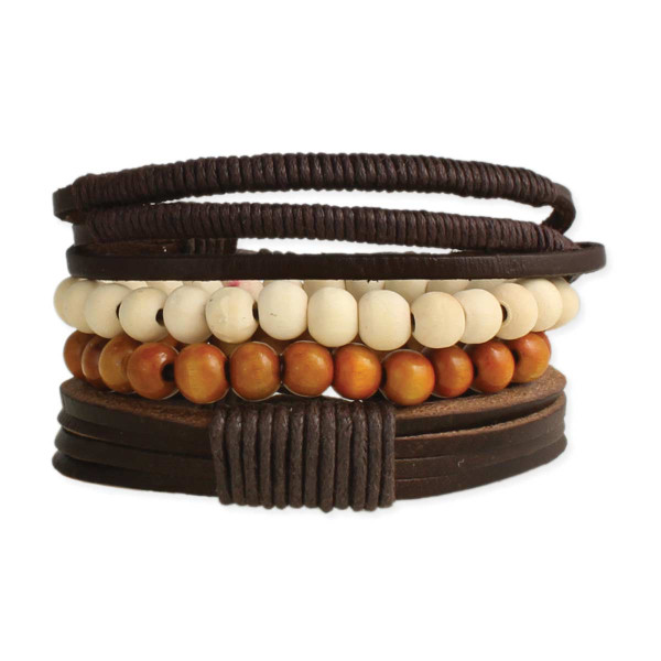 Rustic Leather & Wood Men's Bracelet
