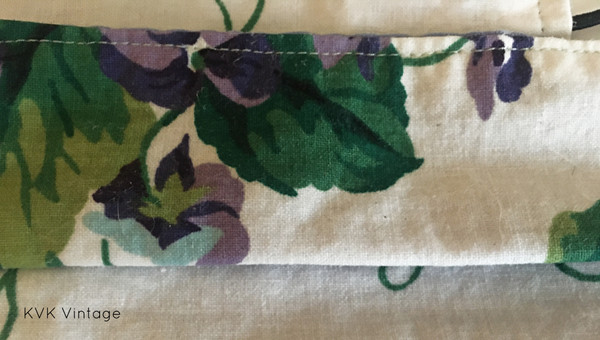 Face Mask - Violets and Leaves Fabric - USA Made
