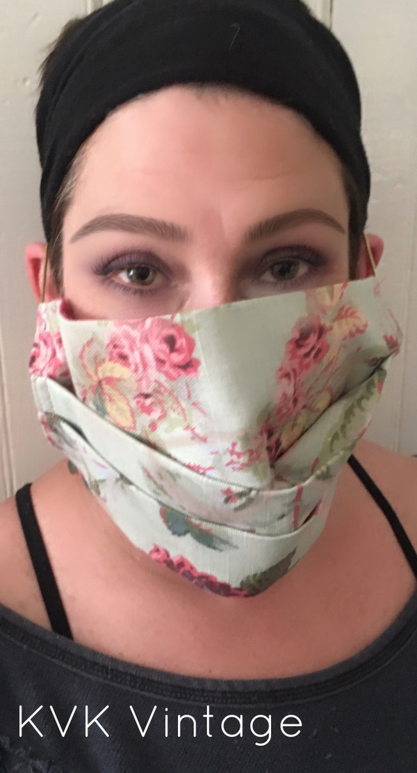 Face Mask - Pink Cabbage Rose Fabric - USA Made