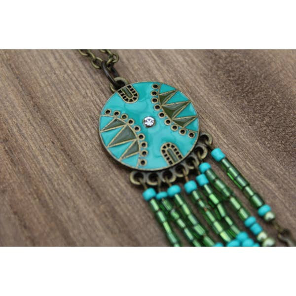 Bronze and Green Dream-catcher Necklace