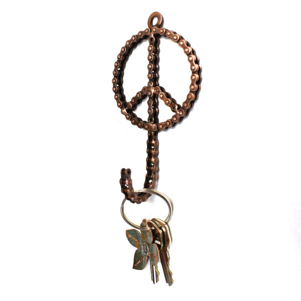 Bike Chain Peace Sign Wall Hook