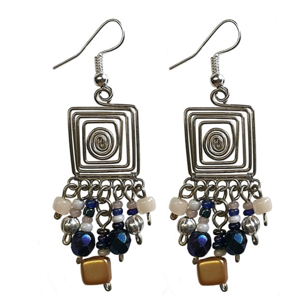 Square Wire Helix Earrings