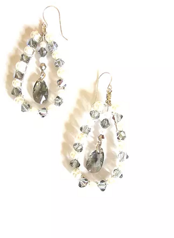 Silver Jet and Pearl Swarovski Crystal Pear Earrings