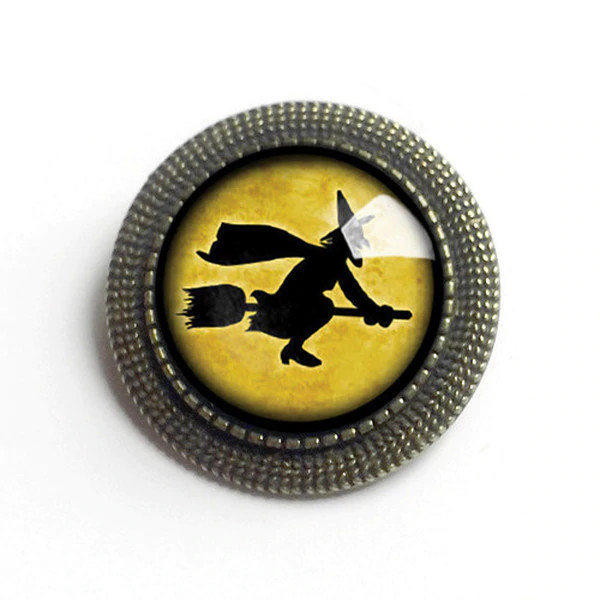 Flying Witch Halloween Brooch