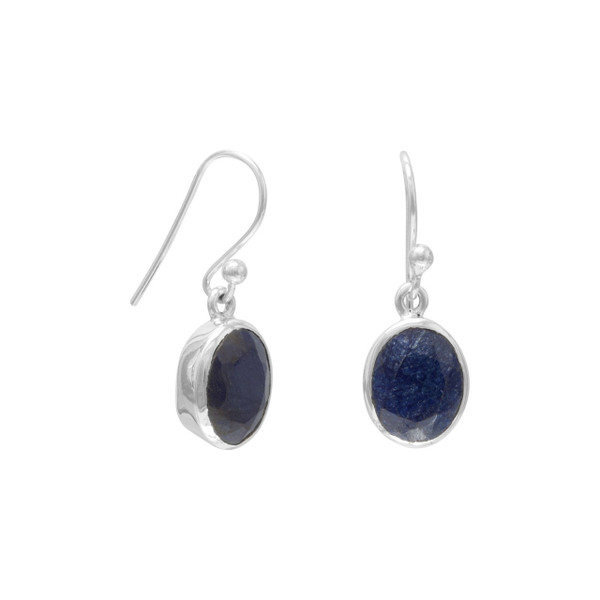 Faceted dyed corundum earrings set in sterling silver hang from french wires. Hanging length is 24mm. Stone measures 8mm x 9.5mm.  .925 Sterling Silver