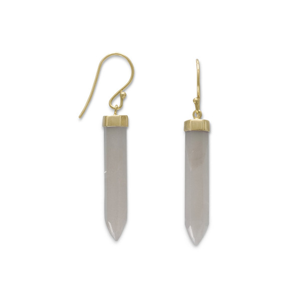 14 karat gold plated sterling silver french wire earrings with gray moonstone spike. The six sided moonstone spike is approximately 6mm x 30.5mm. The earrings hang 46mm.  .925 Sterling Silver
