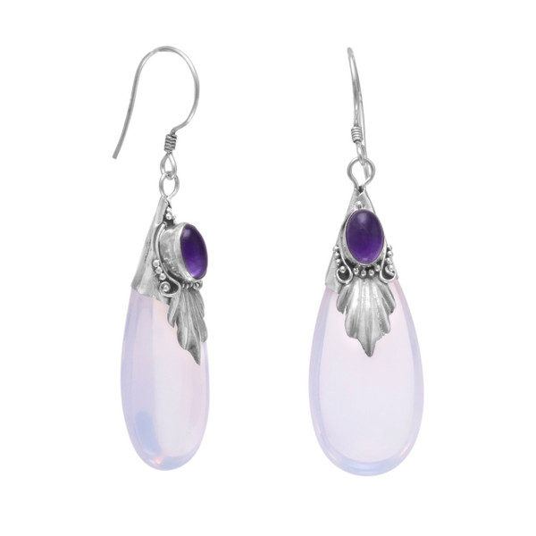 Sterling silver light blue glass drop french wire earrings with amethyst. Amethyst measures approximately 5mm x 3.5mm.  .925 Sterling Silver