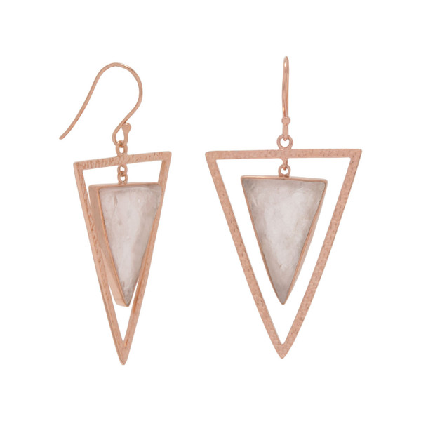"""14 karat rose gold plated sterling silver hammered open triangle french wire earrings with center dangling 21mm x 14mm rough cut rose quartz triangle. The earring hangs approximately 2"""".  .925 Sterling Silver"""