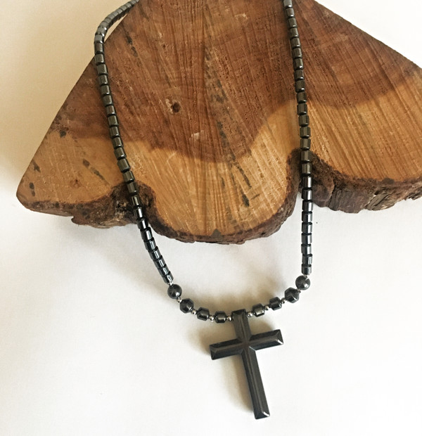 Hematite Simple Cross Necklace