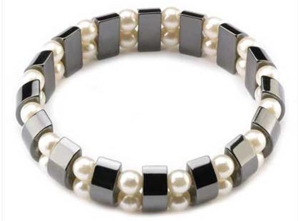 Magnetic Hematite White Pearl Bracelet