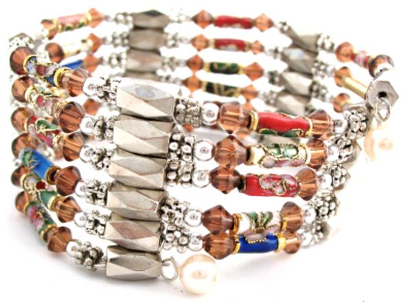"""Multi-Color Cloisonne Magnetic Hematite Wrap Bracelet - 21""""l"""