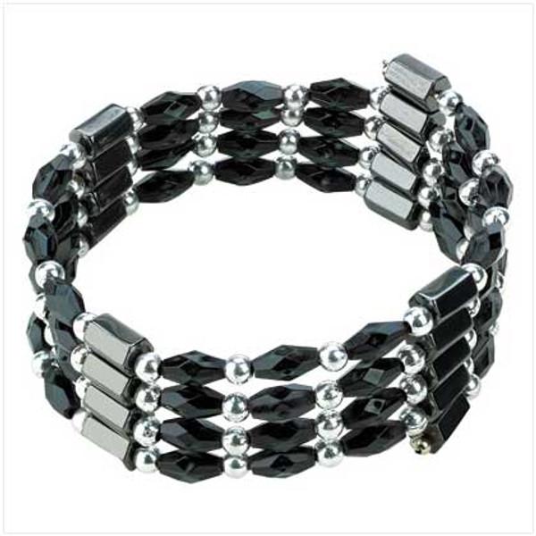 """Black Magnetic Hematite Wrap Necklace - 32""""l"""