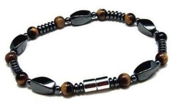 Men's Magnetic Hematite Tiger Eye Bead Bracelet