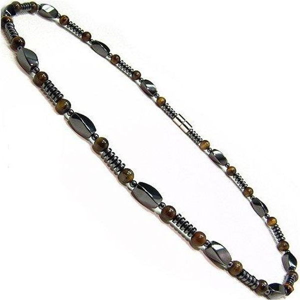Men's Magnetic Hematite Tigers Eye Bead Necklace