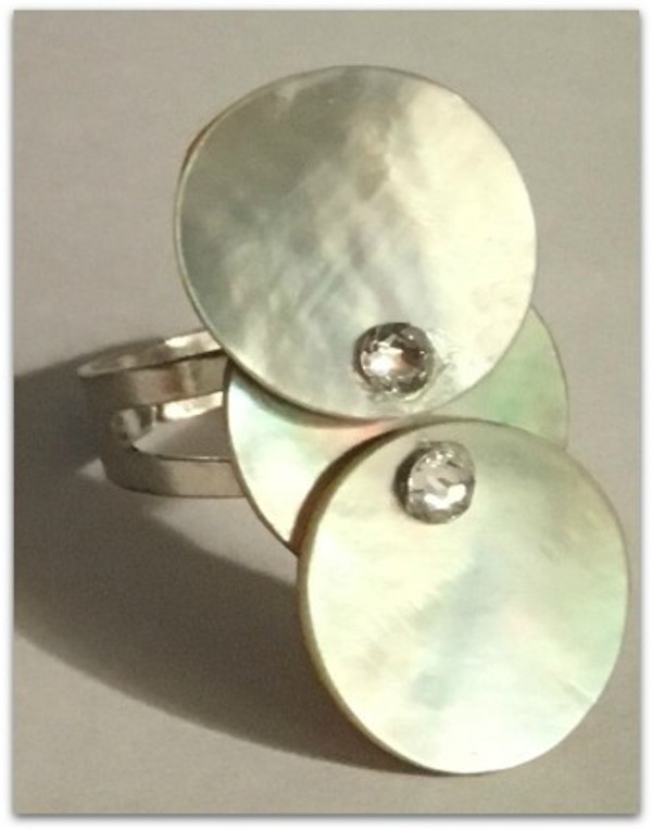 Blue/Gray Mother of Pearl Three Circular Ring Accented with Swarovski Rhinestones