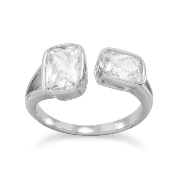 Rhodium Plated CZ Split Design Ring