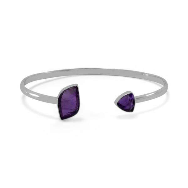 Sterling Silver Amethyst Open Cuff Bracelet