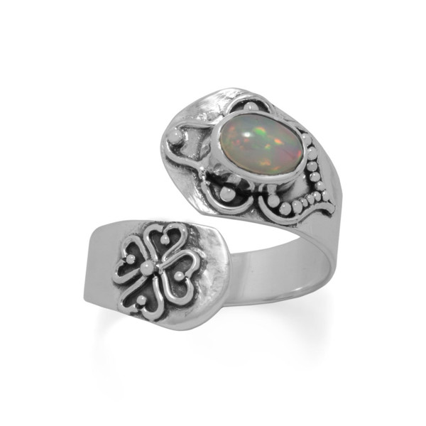 Oxidized Ethiopian Opal Wrap Ring