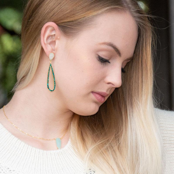 14 Karat Gold Plated Rainbow Moonstone and Turquoise Chip Post Earrings