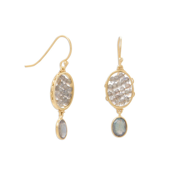 14 Karat Gold Plated Labradorite French Wire Earrings