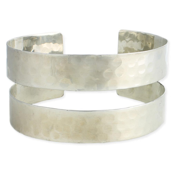 Silver Hammered Double Band Armband