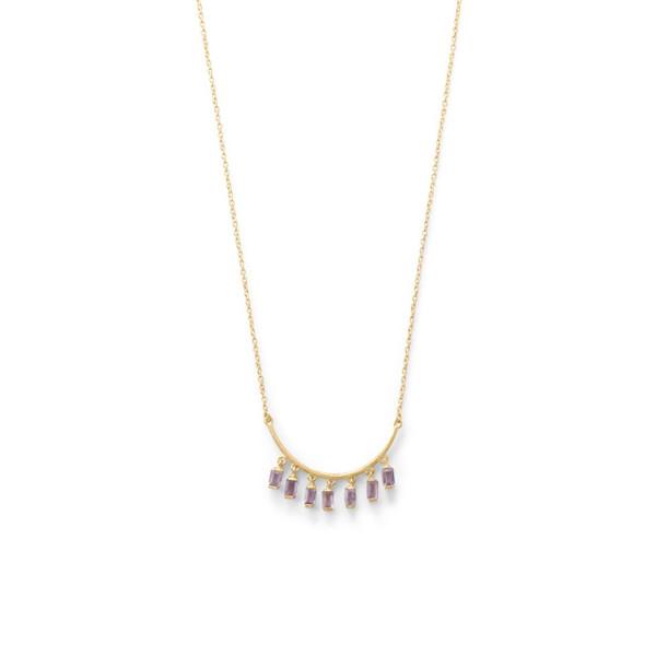 14 Karat Gold Plated Curved Bar Amethyst Drop Necklace
