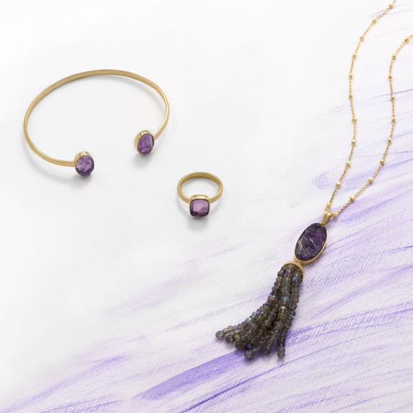 14 Karat Gold Plated Amethyst and Labradorite Tassel Necklace