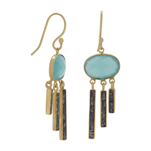 14 Karat Gold Plated Glass and Diamond Chip Drop Earrings