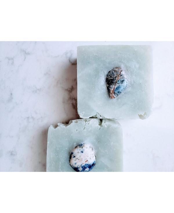 Blue Logic: Cambrian Blue Clay, Lemongrass Essential Oil and Blue Quartz Soap Bar