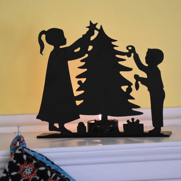 Trimming the Tree Scene & Candle Holder