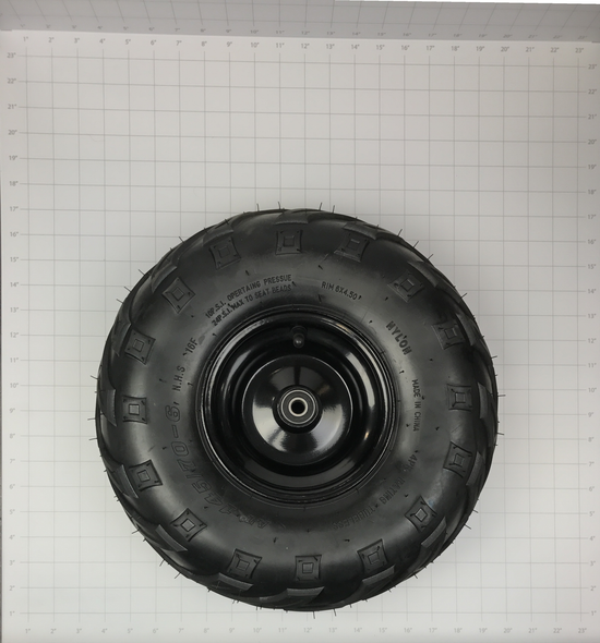 30-10015-00  -  WHEEL/TIRE ASSY. FRONT - (RIM, VALVE, INNER SPACER, 2 BEARINGS, AND MOUNTED TIRE) COMPATIBLE WITH B80/B105/E1000 (v-tread 145/70-6)