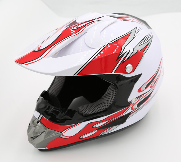 82-10006-00 - HELMET, YOUTH BLACK/RED MEDIUM (57-58 CM)