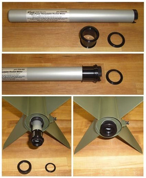 Example of a CTI 24mm motor using a 24mm - 29mm motor adapter to fit a 29mm motor mount Honest John rocket