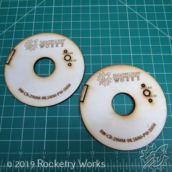 24mm Centering Ring for 98mm Body Tubes - 3mm Plywood