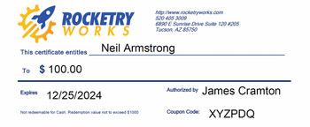 Example Rocketry Works Gift Certificate