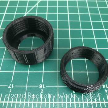 Rocketry Works 3D Printed Motor Retainer Pieces Separately