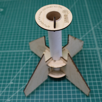 Fin can unit assembled without glue for test fitting.