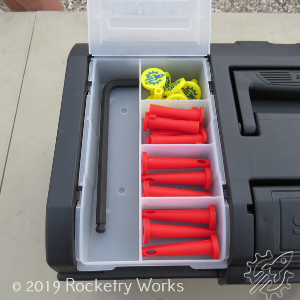 The 3D printed pad accessories (and included extras) store nicely in Rocketry Works' 19 inch field box that comes with the Houston Launch controller, which is designed to work with the Cape Canaveral launch pad, though the controller is sold separately.