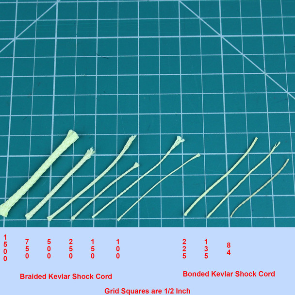 Bonded Kevlar (right grouping) ranges from 84 lb to 225 lb test