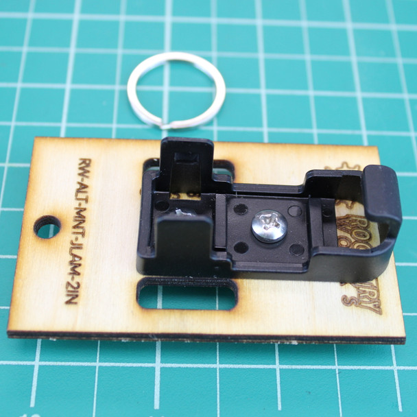 Rocketry Works hanging altimeter sled package contents--shown with 2 inch width with the Jolly Logic Altimeter Snap Mount  attached (Altimeter and snap mount sold separately)
