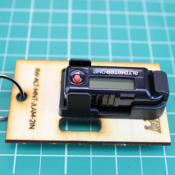 Rocketry Works hanging altimeter sled package contents--shown with 2 inch width with the Jolly Logic AltimeterOne and Snap Mount  attached (Altimeter and snap mount sold separately)