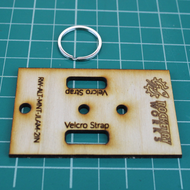 Rocketry Works hanging altimeter sled package contents--shown with 2 inch width cut for the Jolly Logic Altimeter Snap Mount (sold separately)