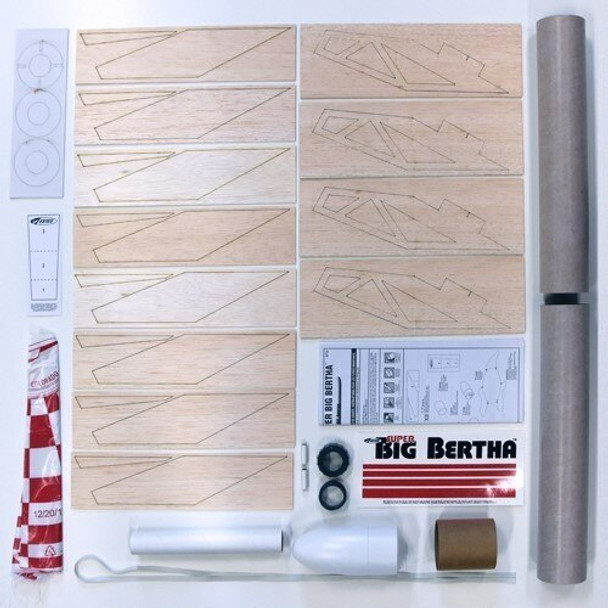 Super Big Bertha Model Rocket Kit Contents