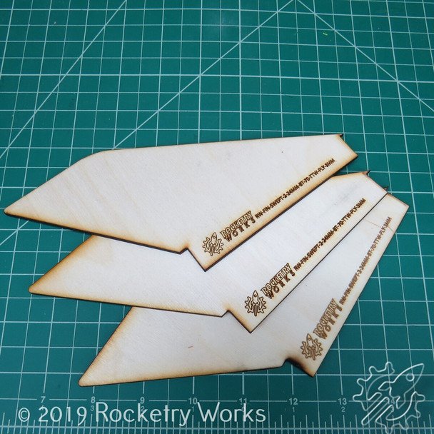 Upscale Alpha 3 fins for 24mm motor mount in BT-70 airframe
