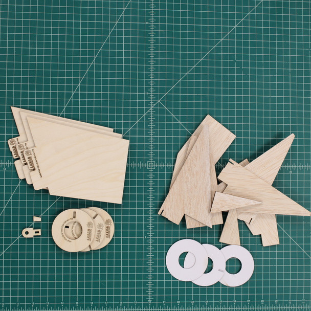 Compared to the stock multi-part fin assembly requirements shown on the right, the Rocketry Works plywood upgrade set is simple, clean and ready to assemble.