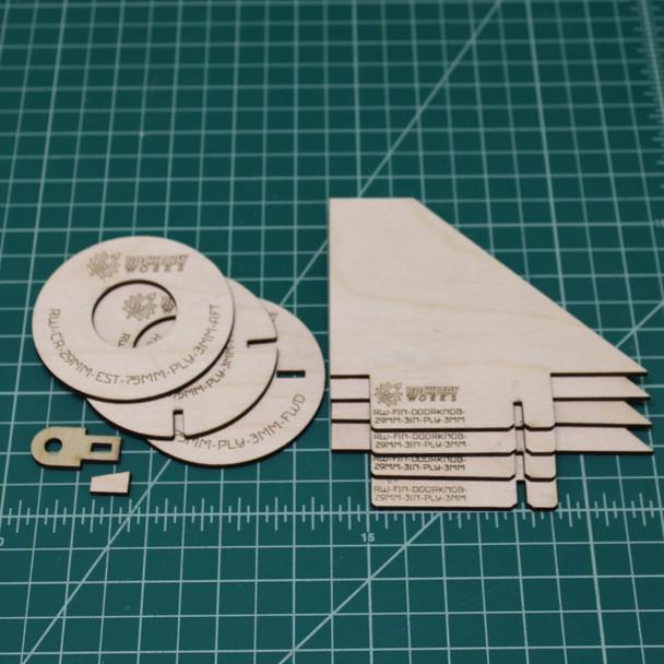 Doorknob Plywood Fin Upgrade Set of 4