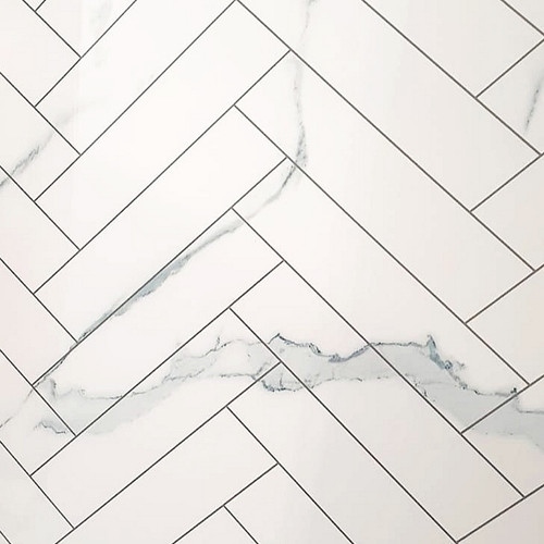 Cheveron Tile Carrera White Premium Wet Wall Panel - 1 Metre