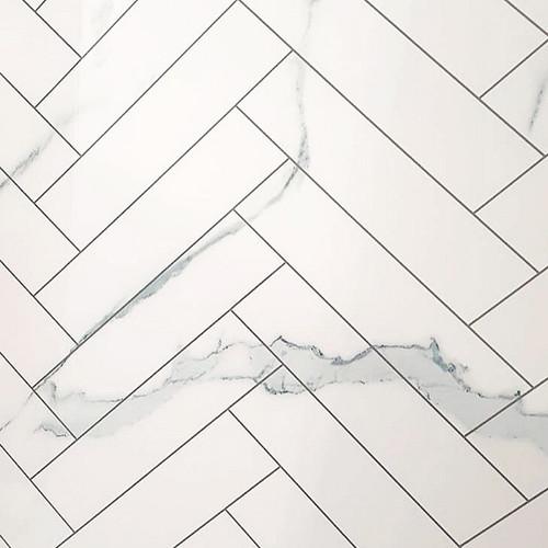 Cheveron Tile Carrera White Premium Wet Wall Panel - 1 Metre