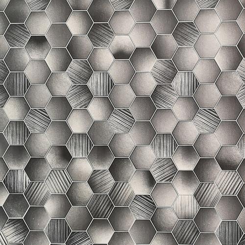Hexagonal Tile Grey Premium Wet Wall Panel - 1 Metre